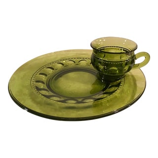 Mid-Century Avacodo Green Snack Dish Set - Set of 12
