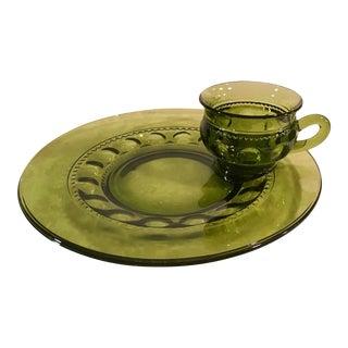 Mid-Century Avacodo Green Snack Dish Set - Set of 12