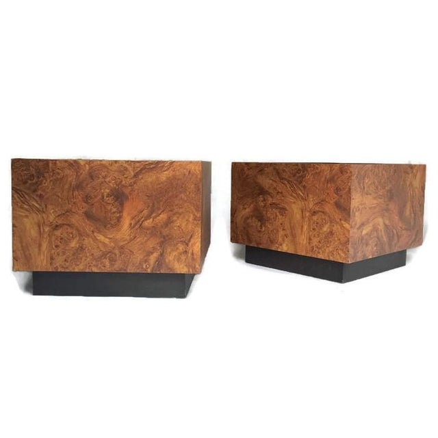 Image of Vintage Burl Wood Cube Tables - A Pair