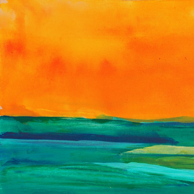 Coral & Teal Abstract Sunset by Glenn Lyons - Image 2 of 6