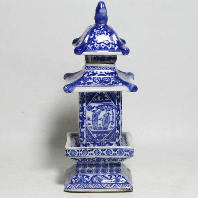 Chinese Blue & White Pagoda Jar - Image 2 of 4