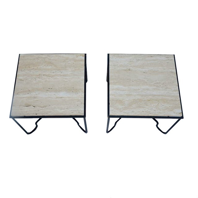 Image of Hacienda Iron & Travertine Side Tables - A Pair