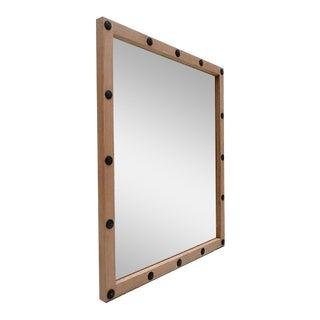 Metal Grommet & Wood Mirror
