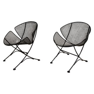 "Salterini ""Slice' Wrought Iron Chairs - Pair"