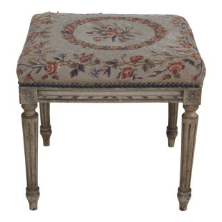 Antique French Ottoman With Aubusson Seat