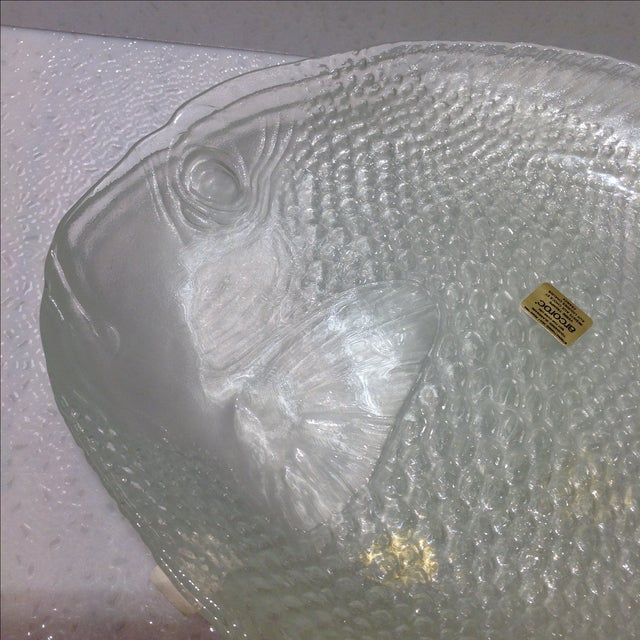 french clear glass fish plates set of 5 chairish