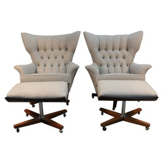 G-Plan Blofeld Chairs With Ottomans - Pair