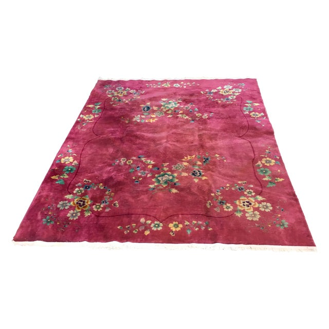 Authentic 1930s Art Deco Chinese Handmade Rug - Image 1 of 9