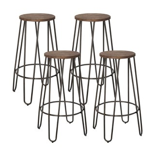 Industrial Metal Counter Height Stools - Set of 4