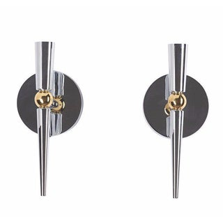 1970's Chrome and Brass Sconces - A Pair