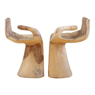 Vintage Wood Buddha Hand Chairs - A Pair
