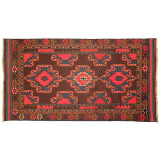"""Geometric Hand-Knotted  Brown Rug - 3' 6"""" x 6' 7"""""""