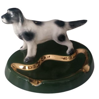 Gilded Staffordshire Dog Ashtray Jewelry Dish