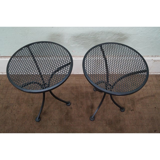 Round Metal Patio Side Tables - A Pair - Image 4 of 10