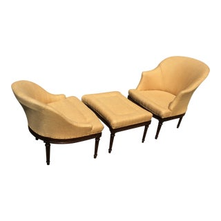 Antique Three-Piece Duchesse Brisee Lounge Chair - Set of 3