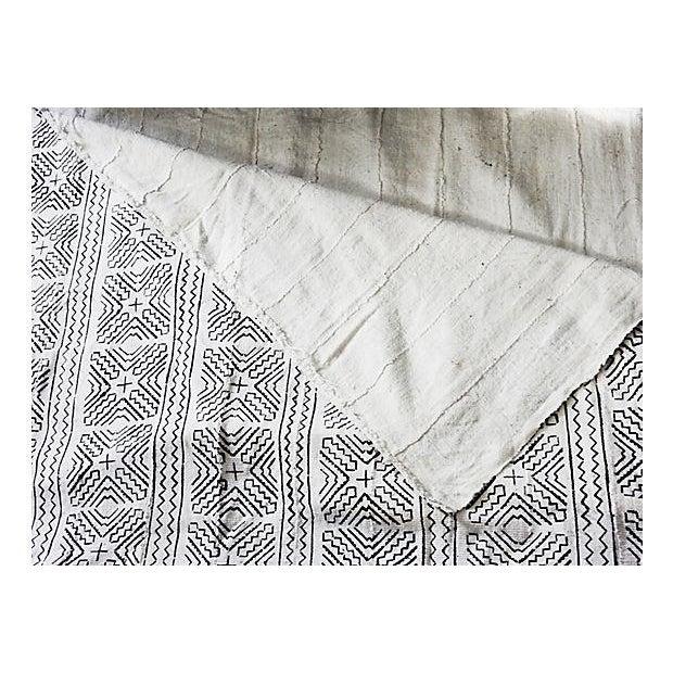 Lg Black & White Mali Mud Cloth Textile - Image 7 of 7