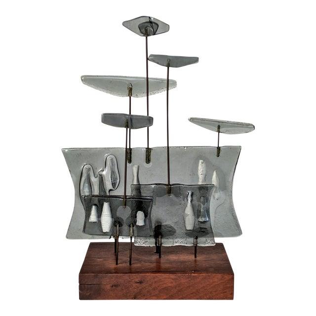Higgins Style Studio Art Glass Sculpture on Wood Base - Image 1 of 11