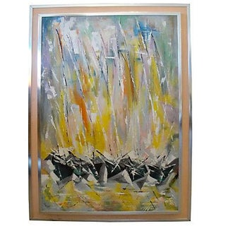 Double Frame Mid-Century Abstract Painting