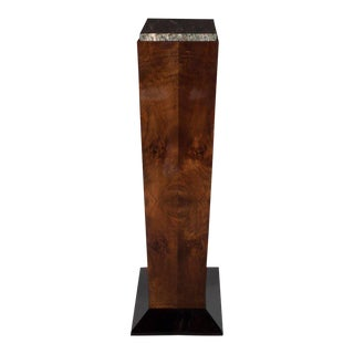 Art Deco Bookmatched Walnut and Black Lacquer Pedestal with Exotic Marble Top