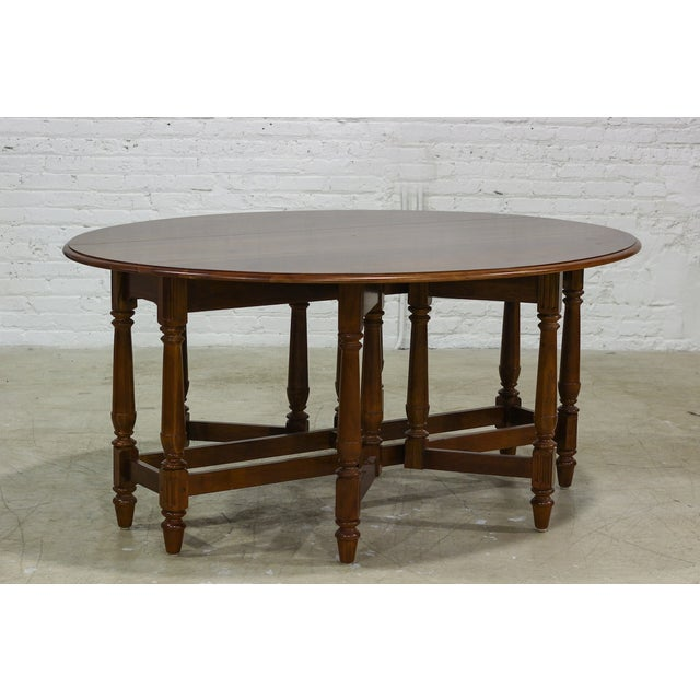 Image of Cherry Drop Leaf Table With Ornate Turned Wood Leg
