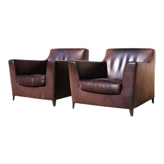 Ligne Roset Buffalo Hide Club Chairs - a Pair