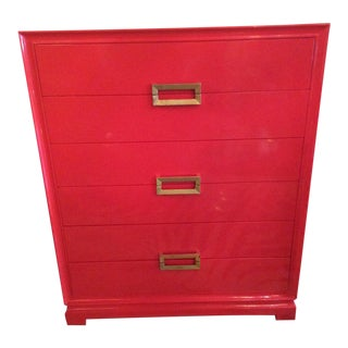 1940's Frankl Style Red Lacquered Chest