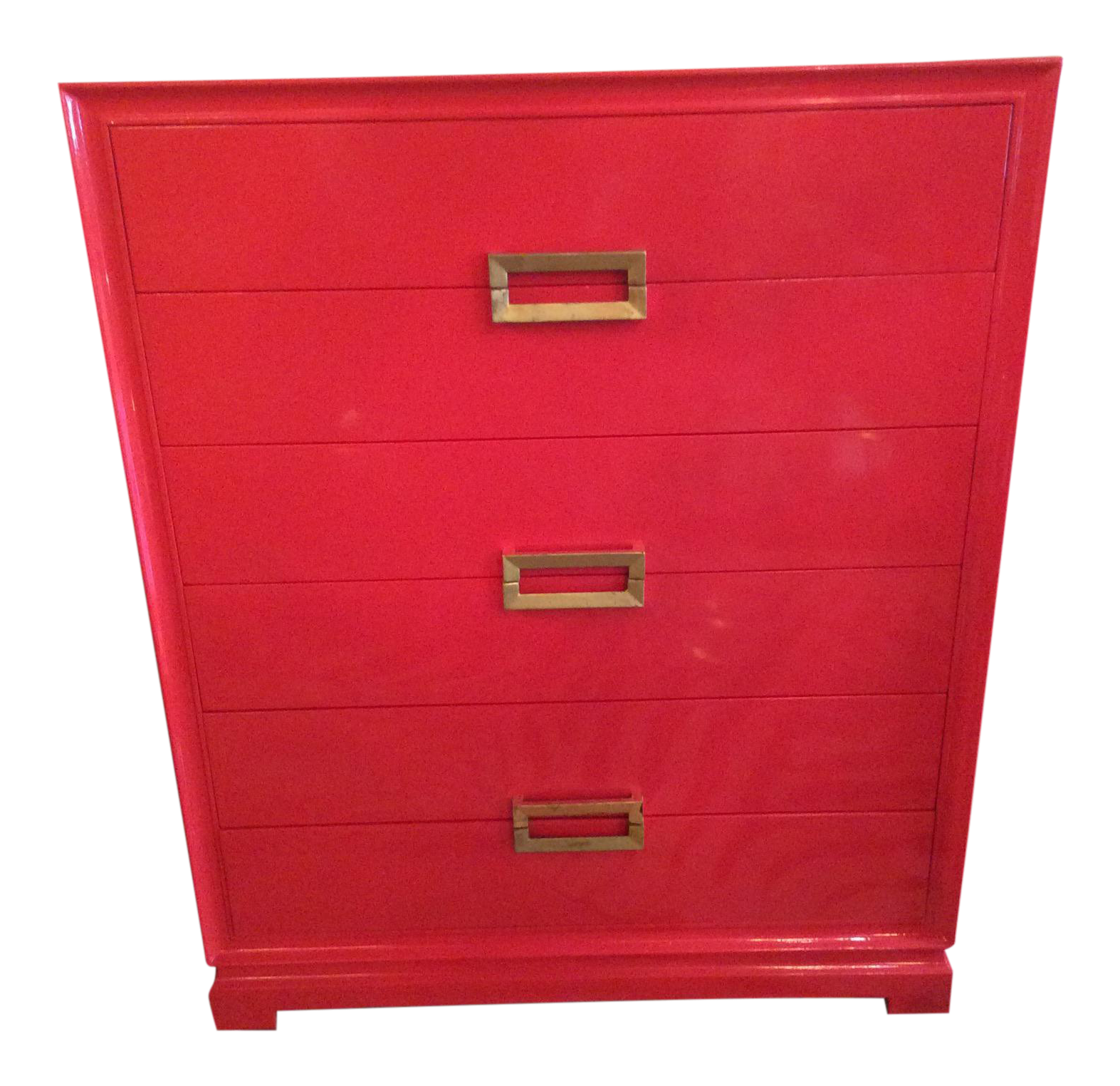 1940u0027s frankl style red lacquered chest