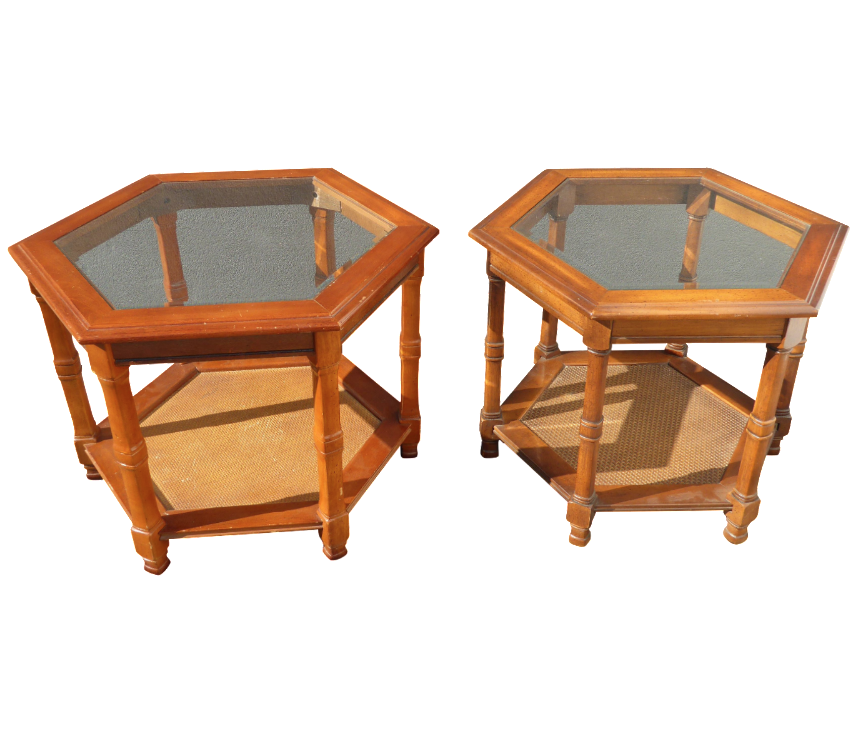 Bamboo Rattan Hexagon Glass End Tables   A Pair   Image 1 Of 9