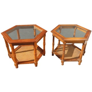 Bamboo Rattan Hexagon Glass End Tables - A Pair