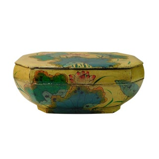 Restored Vintage Chinese Yellow Octagon Wood Container Box