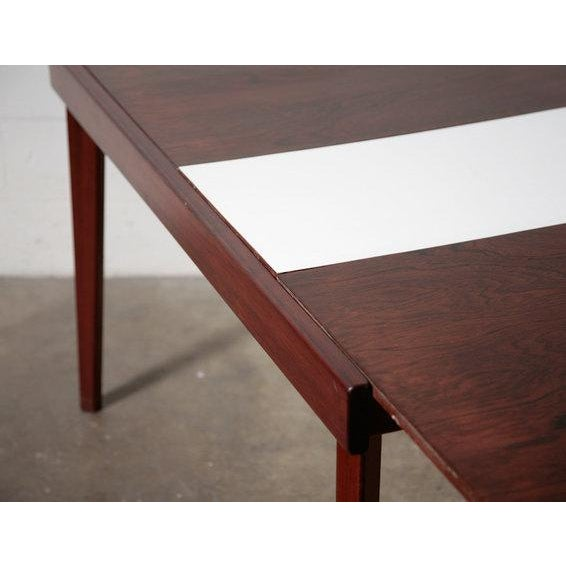 Mid-Century Rosewood Table With White Leaf - Image 4 of 8