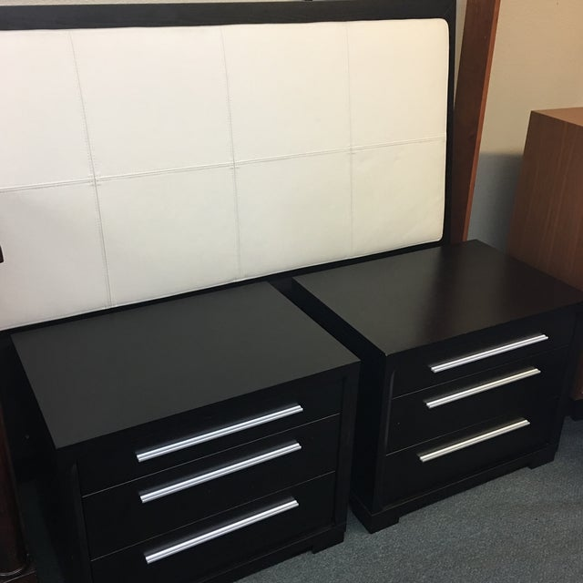 Contemporary 3-Drawer Nightstands - A Pair - Image 6 of 8