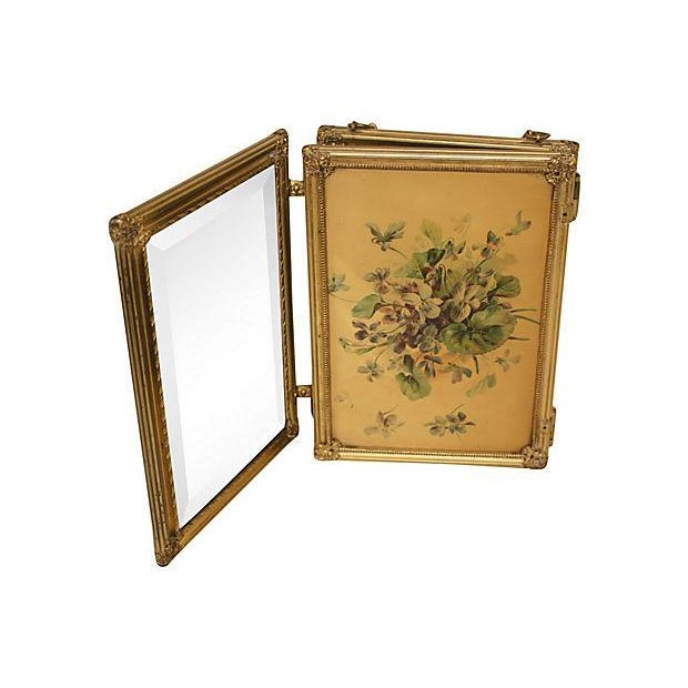 19th C. Celluloid Trifold Beveled Mirror - Image 4 of 6
