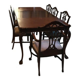 Antique Chippendale Mahogany Table & Chairs