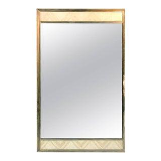 Gio Ponti Style Italian Modern Travertine & Brass Rectangular Mirror