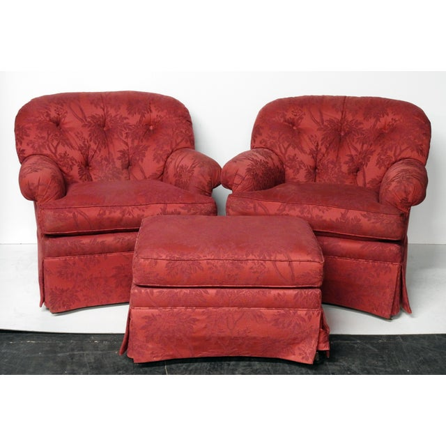 Sherrill Club Chairs & Ottoman - Set of 3 - Image 2 of 10