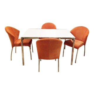Mid-Century Modern Chrome Table & Orange Chairs - Set of 5