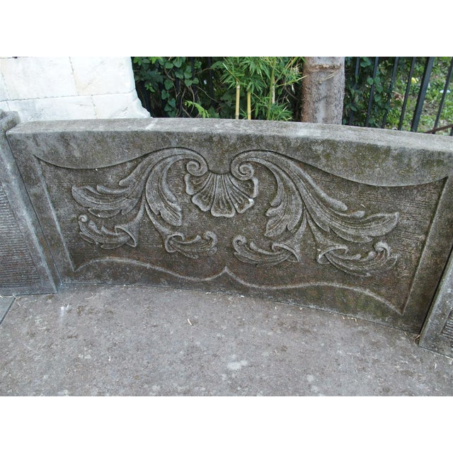 A Large Semi Circular Carved Limestone Griffins Bench - Image 3 of 11