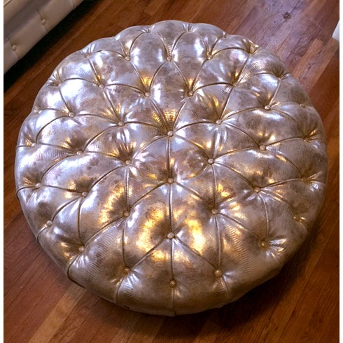 Glimmering Gold Tufted Ottoman - Image 2 of 4