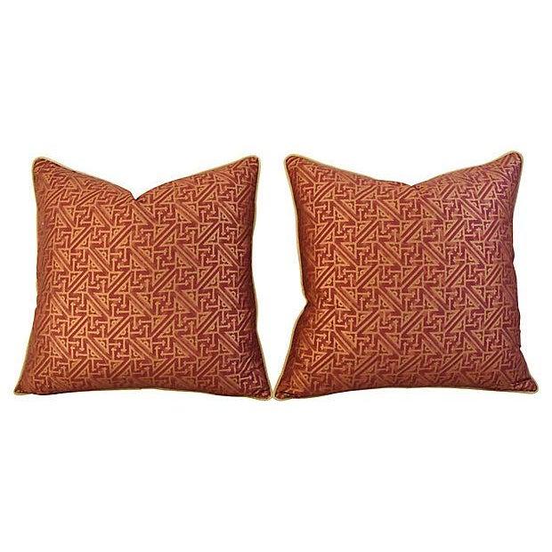 Custom Italian Mariano Fortuny Simboli Feather/Down Pillows - Pair - Image 5 of 10