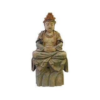 Chinese Handcrafted Rustic Wood Sitting Kwan Yin Bodhisattva Statue