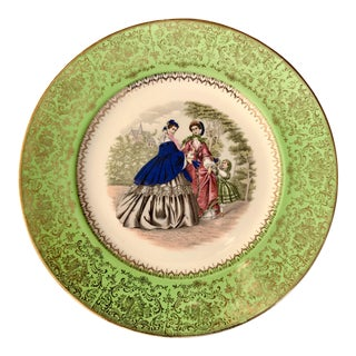 Imperial Salem China Plate With Godey Image of Victorian Ladies and Child