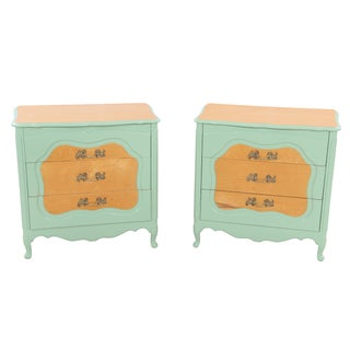 French Provincial Teal Nightstands - A Pair