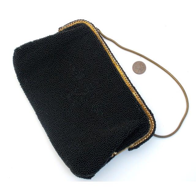 Image of French Black Hand Beaded Purse Vintage Caron Bag