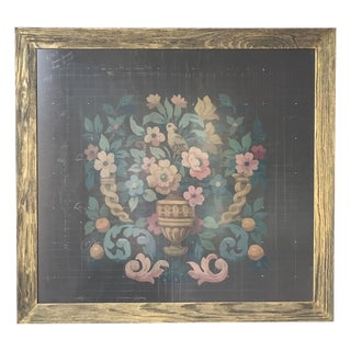 1800's Painted French Antique Tapestry Template