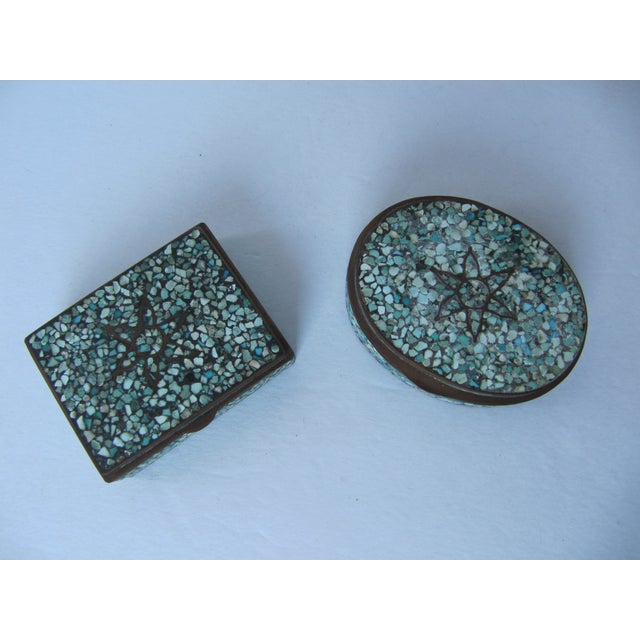 Image of Turquoise Eggshell & Brass Mosaic Boxes - A Pair