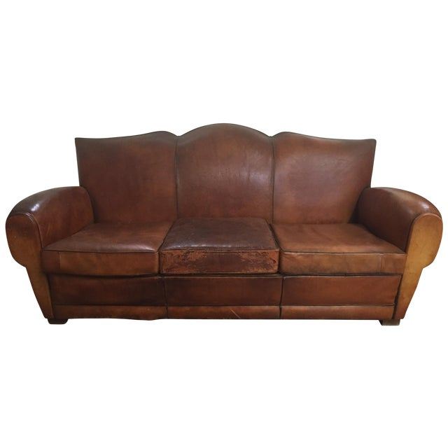 Vintage Leather Mustache Sofa - Image 1 of 9