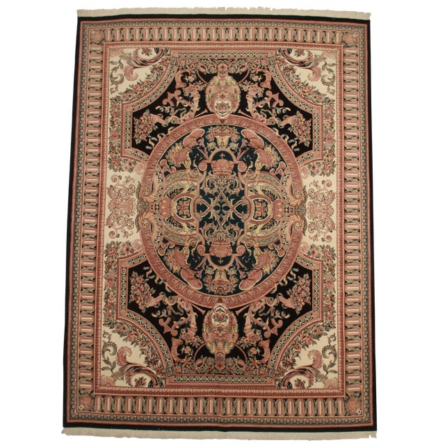 RugsinDallas Hand Knotted Wool Pakistani Rug With French Design - 10′1″ × 14′5″ - Image 1 of 2
