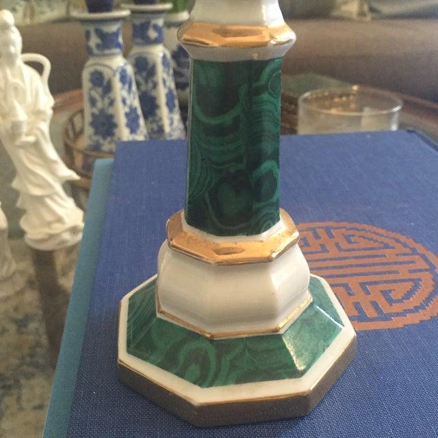Vintage Ceramic Faux Malachite Candle Holder - Image 5 of 8