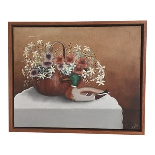 Vintage Mid Century Oil Painting of Duck and Flowers, Signed